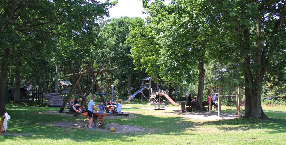 Spielplatz Gut Karlsminde mit Schaukeln und Rutschen umgeben von Bäumen