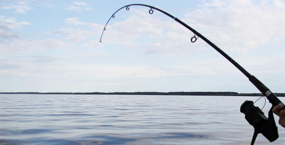 Eine Angelrute ragt auf das Wasser hinaus